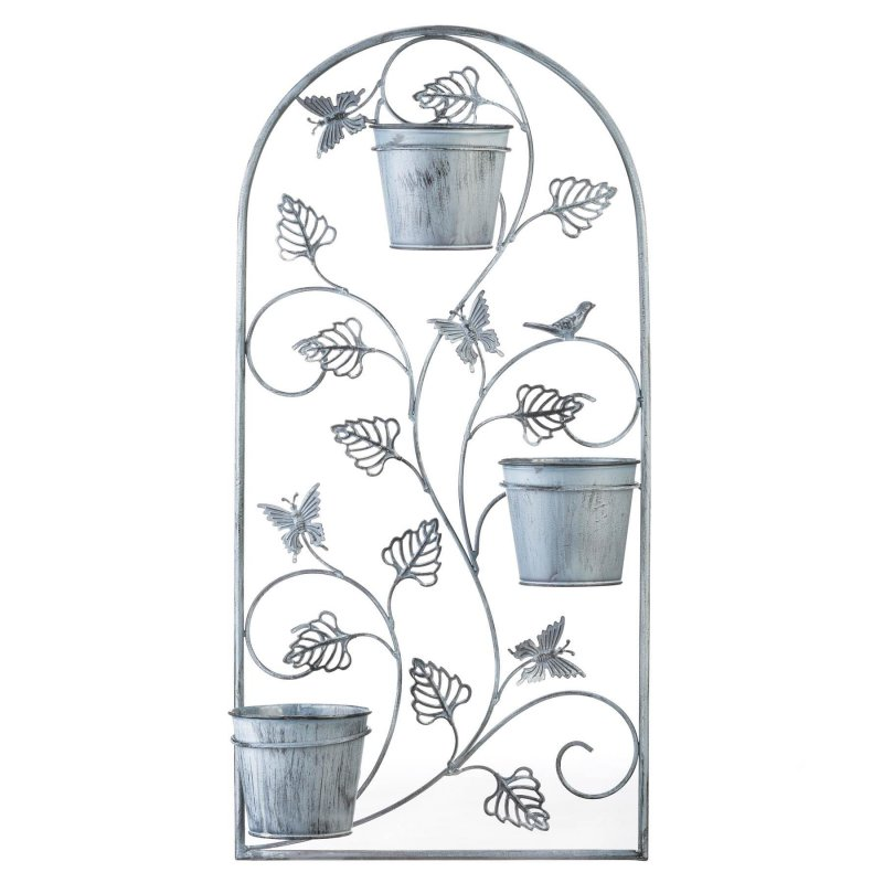 Image 2 of Butterfly Wall Trellis w/ 3 Flower Pots in Distressed Gray Finish 26