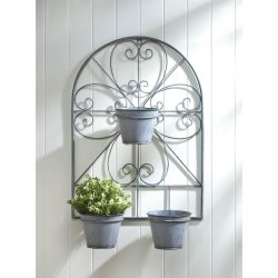Scroll-Work Wall Trellis w/ 3 Flower Pots in Distressed Gray Finish 23 High