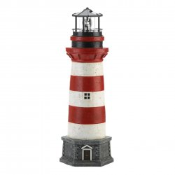 Red & White Striped Lighthouse Garden Figurine w/ Solar LED Light Lookout