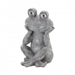 Gray & White Garden Frog Figurine w/ Solar LED Lights in Eyes Weather Resistant
