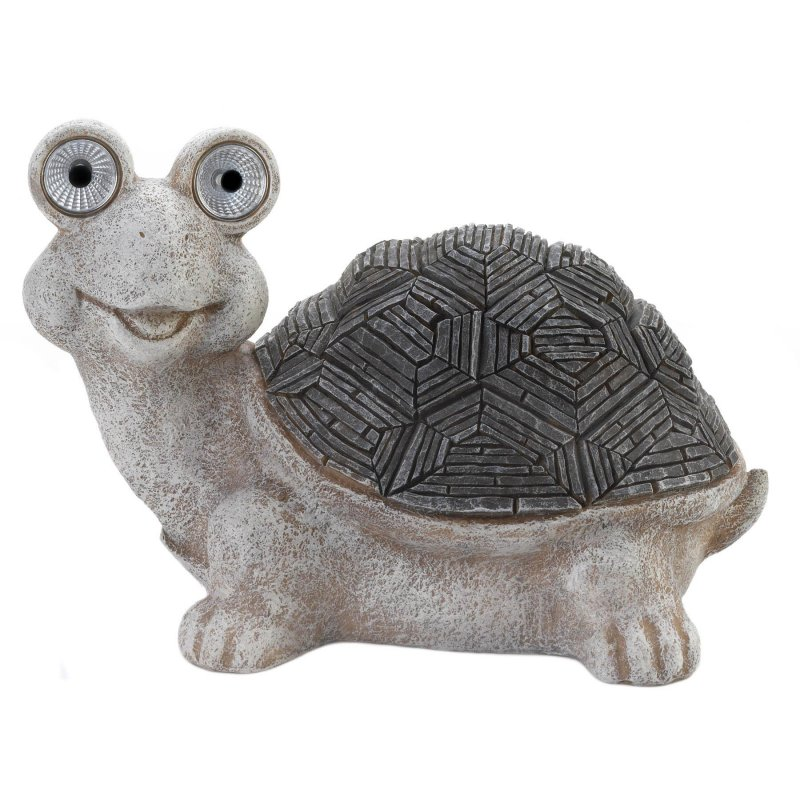 Image 0 of Gray & White Garden  Turtle Figurine w/ Solar LED Lights Eyes Weather Resistant