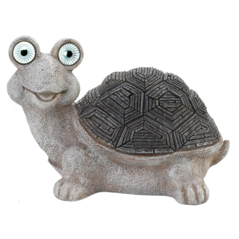 Image 1 of Gray & White Garden  Turtle Figurine w/ Solar LED Lights Eyes Weather Resistant