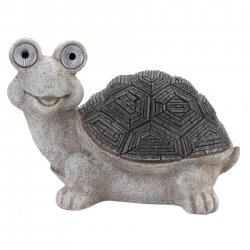 Gray & White Garden  Turtle Figurine w/ Solar LED Lights Eyes Weather Resistant