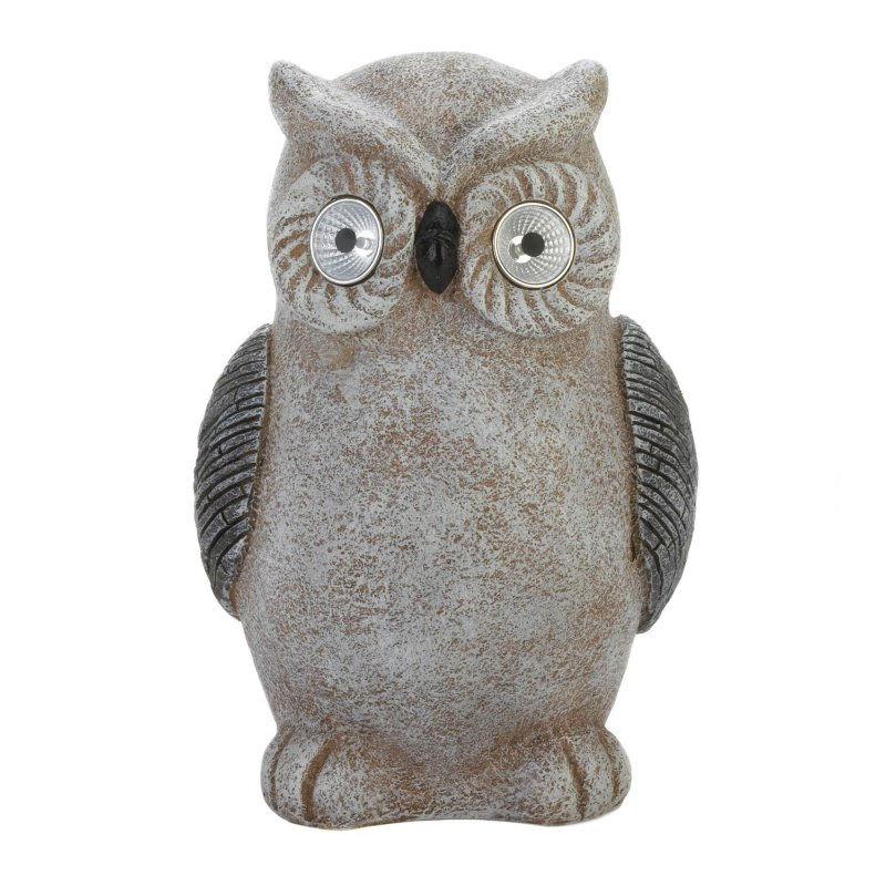 Image 0 of Gray & White Garden Owl Figurine w/ Solar LED Lights Eyes Weather Resistant