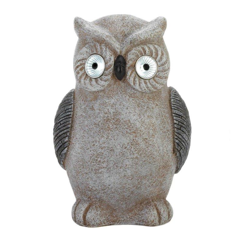 Image 1 of Gray & White Garden Owl Figurine w/ Solar LED Lights Eyes Weather Resistant