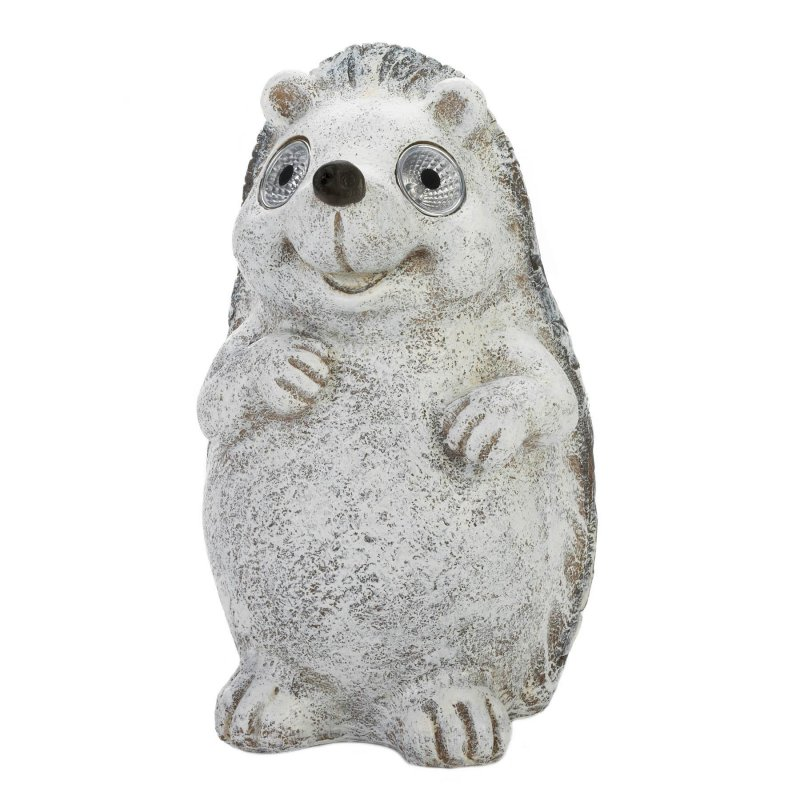Image 0 of Gray Garden Hedgehog Figurine w/ Solar LED Lights Eyes Weather Resistant