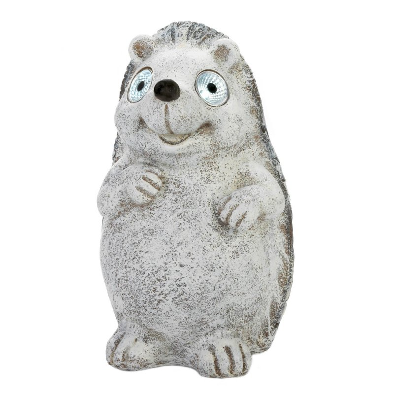 Image 1 of Gray Garden Hedgehog Figurine w/ Solar LED Lights Eyes Weather Resistant
