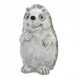 Gray Garden Hedgehog Figurine w/ Solar LED Lights Eyes Weather Resistant