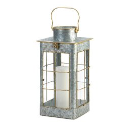 Farmhouse Style Iron Candle Lantern w/ Gold Trim Glass Window Panes 20 High