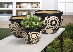 3 Ceramic Flower Pot, Planters Floral Nights Design Drain Hole in Bottom