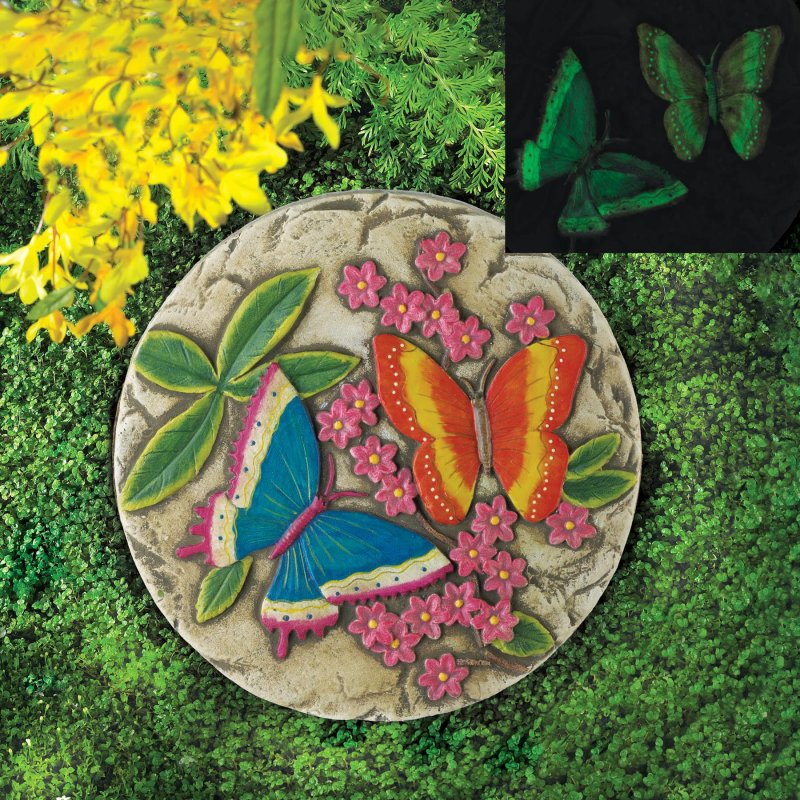 Image 0 of Glow in the Dark Butterfly Garden Stepping Stone with Pink Flowers