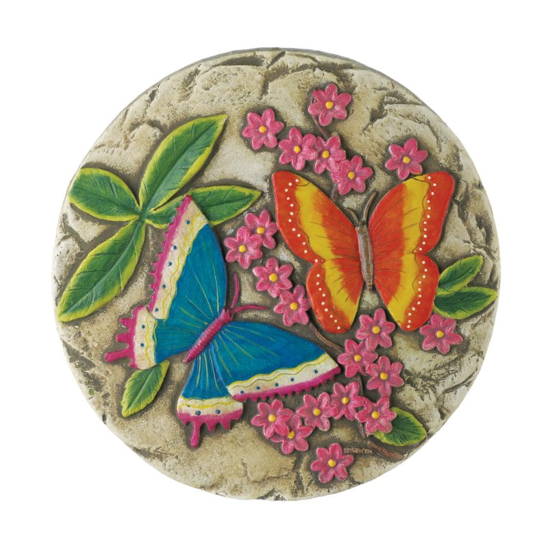 Image 1 of Glow in the Dark Butterfly Garden Stepping Stone with Pink Flowers