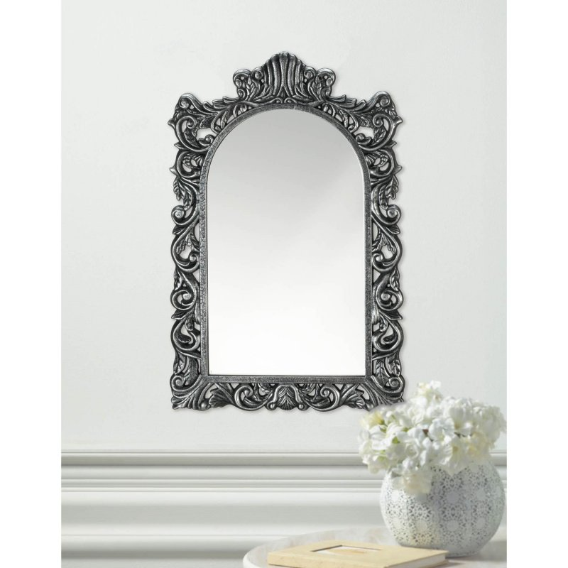 Image 0 of Grand Baroque Style Silver Frame Arched Wall Mirror