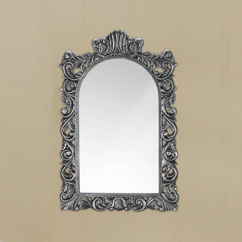 Image 1 of Grand Baroque Style Silver Frame Arched Wall Mirror