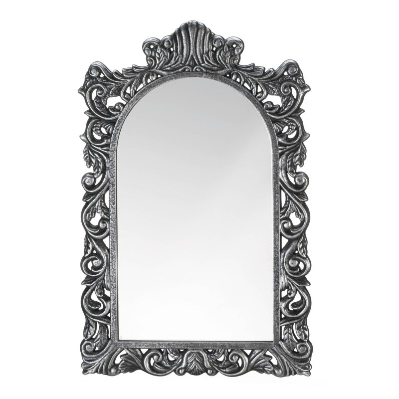 Image 2 of Grand Baroque Style Silver Frame Arched Wall Mirror