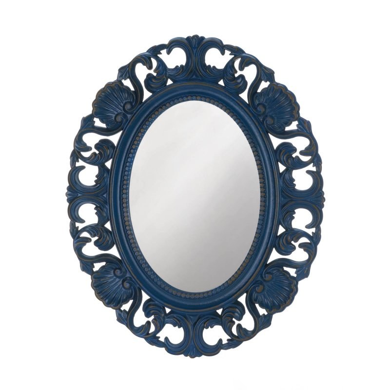 Image 0 of Baroque Style Scallops & Shells Royal Blue Frame Oval Wall Mirror