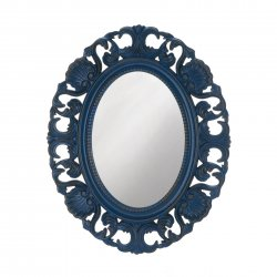 Baroque Style Scallops & Shells Royal Blue Frame Oval Wall Mirror