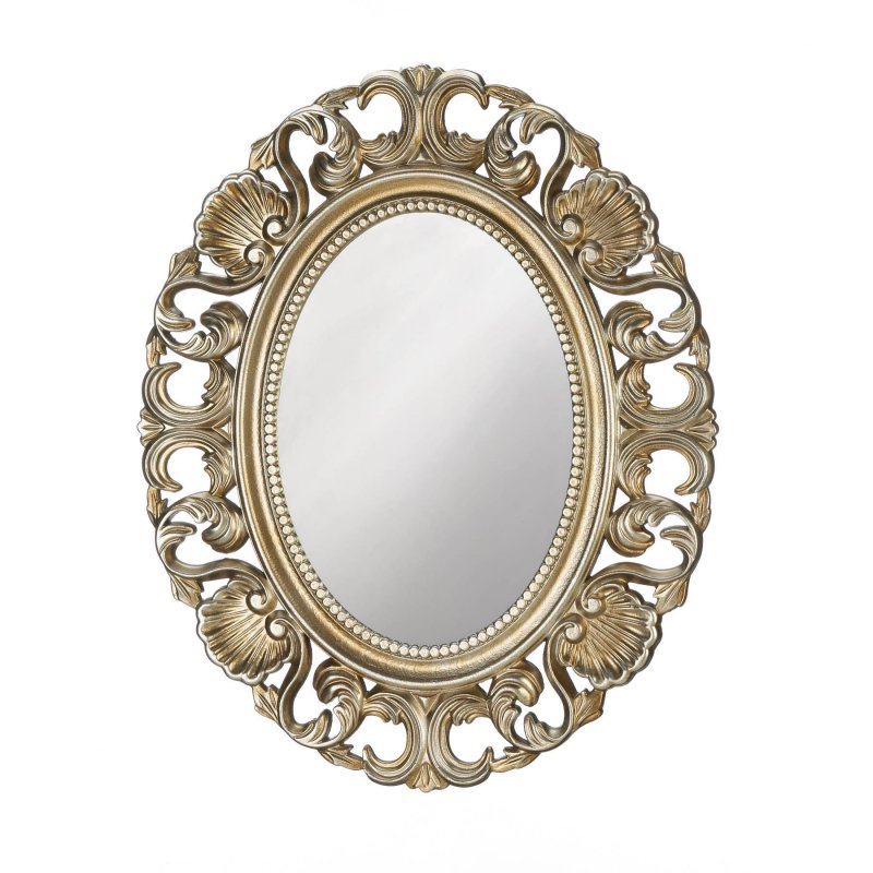 Image 0 of Baroque Style Scallops & Shells Golden Frame Oval Wall Mirror