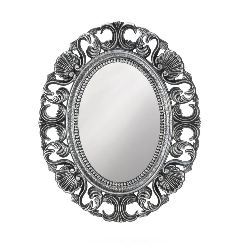 Image 0 of Baroque Style Scallops & Shells Silver Frame Oval Wall Mirror