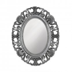 Baroque Style Scallops & Shells Silver Frame Oval Wall Mirror