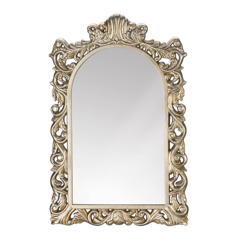 Image 0 of Grand Baroque Style Golden Frame Arched Wall Mirror