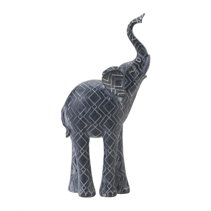 Image 0 of Faded Black Elephant Figurine w/ White Geometric Design Trunk up for Luck