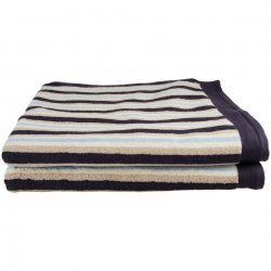 Set of 2 Superior Striped Egyptian Cotton Loop Bath Towels 30 x 52