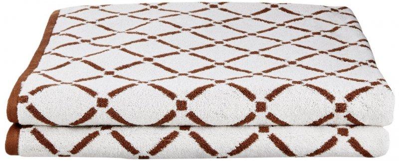 2 Piece Chocolate & Cream Diamond Bath Towels