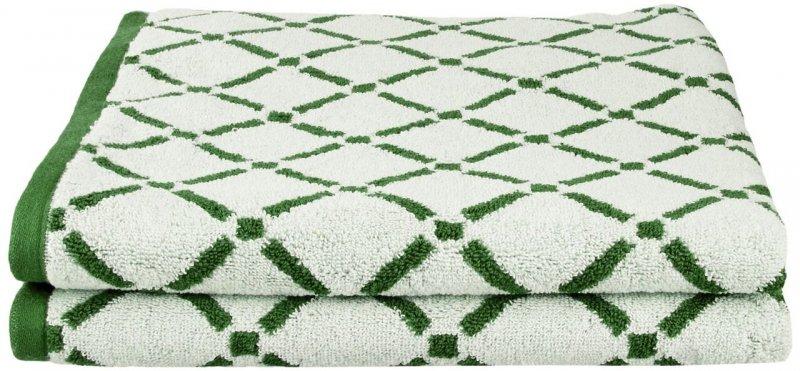 2 Piece Hunter Green & Cream Diamond Bath Towels