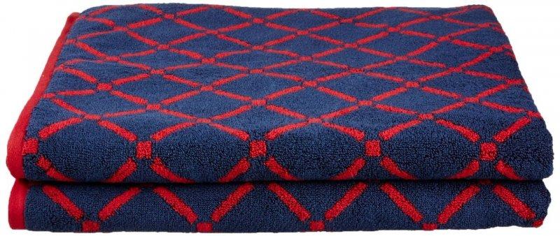 2 Piece Red & Navy Blue Diamond Bath Towels