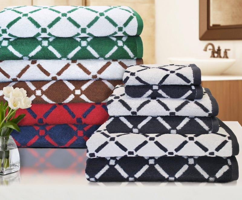 Image 0 of Reversible Diamond Pattern 2 Bath + 2 Hand + 2 Face Towel Set