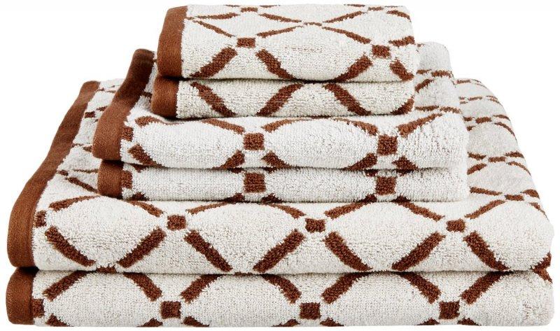 Image 1 of Reversible Diamond Pattern 2 Bath + 2 Hand + 2 Face Towel Set