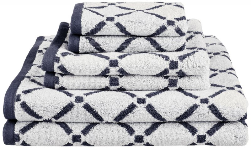 Image 5 of Reversible Diamond Pattern 2 Bath + 2 Hand + 2 Face Towel Set