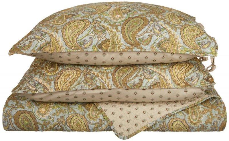 Image 2 of 3 Piece King Moroccan Paisley Print Reversible Quit & Pillow Sham Set