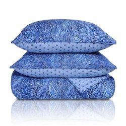 3 Piece King Moroccan Paisley Print Reversible Quit & Pillow Sham Set