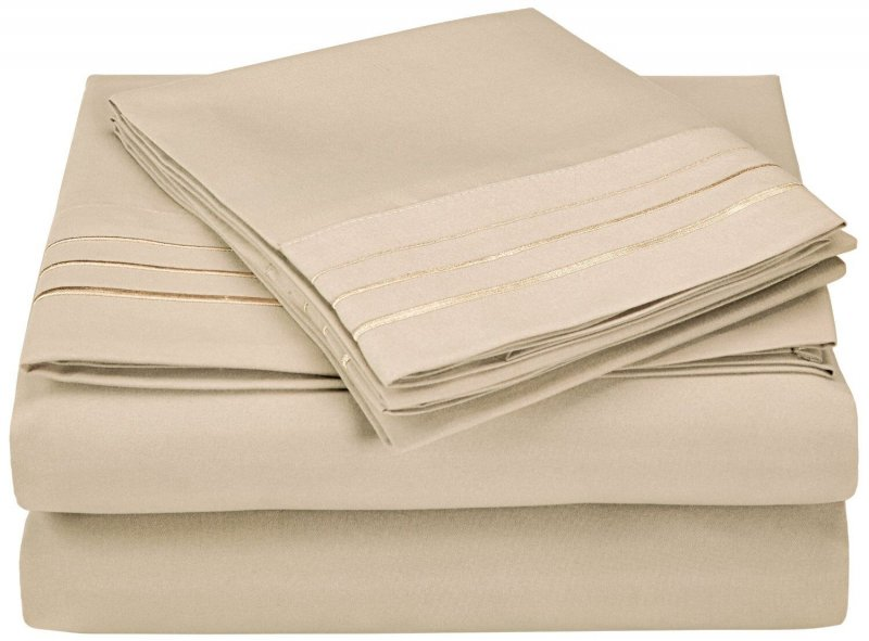 Image 9 of 3 Piece Twin XL Superior 3 Line Embroidery Microfiber Sheet Set Wrinkle Resisant