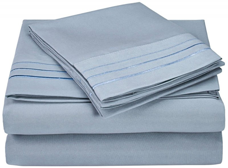 Image 11 of 3 Piece Twin XL Superior 3 Line Embroidery Microfiber Sheet Set Wrinkle Resisant