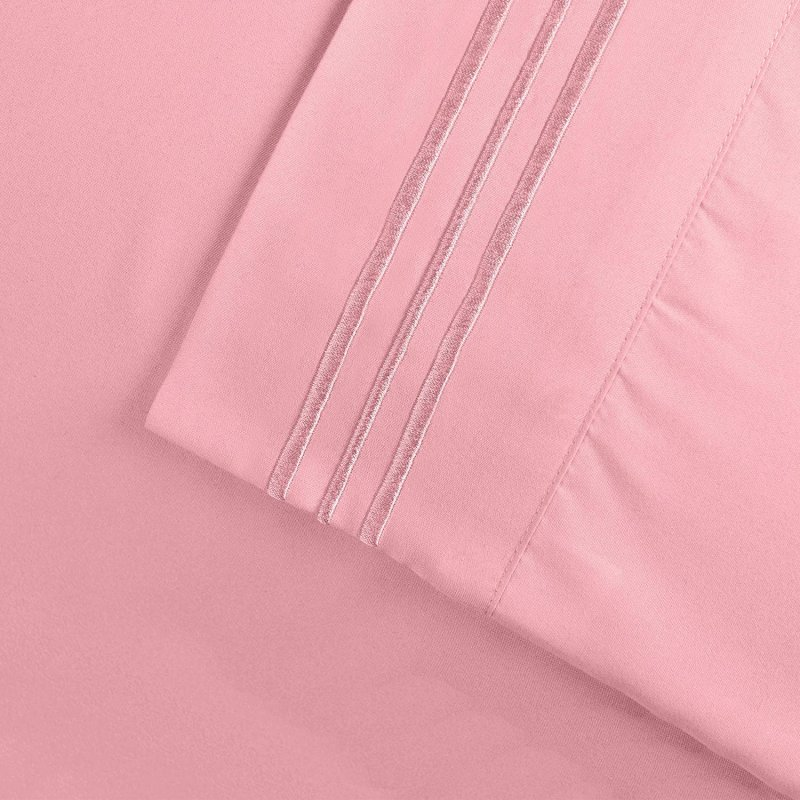 Image 16 of 3 Piece Twin XL Superior 3 Line Embroidery Microfiber Sheet Set Wrinkle Resisant