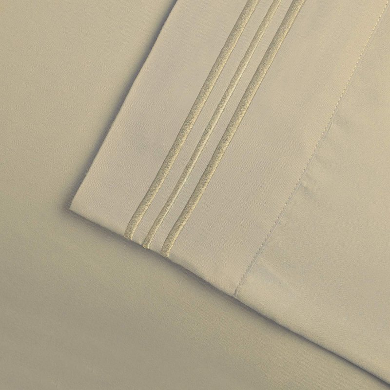 Image 24 of 3 Piece Twin XL Superior 3 Line Embroidery Microfiber Sheet Set Wrinkle Resisant