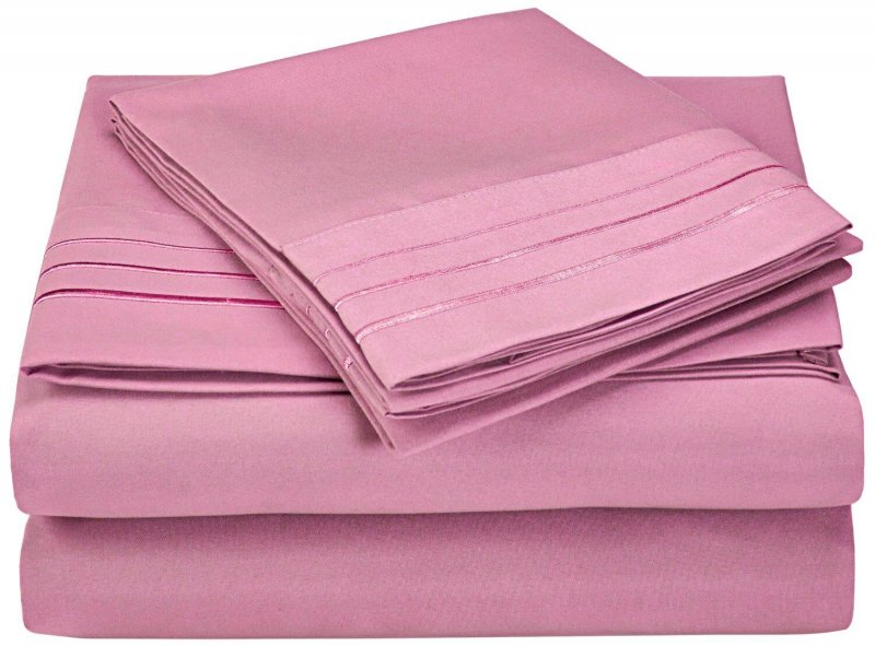 Image 9 of 4 Piece Full Superior 3 Line Embroidery Microfiber Sheet Set