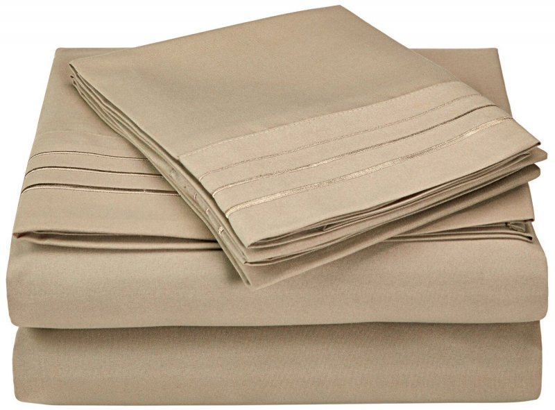 Image 11 of 4 Piece Full Superior 3 Line Embroidery Microfiber Sheet Set