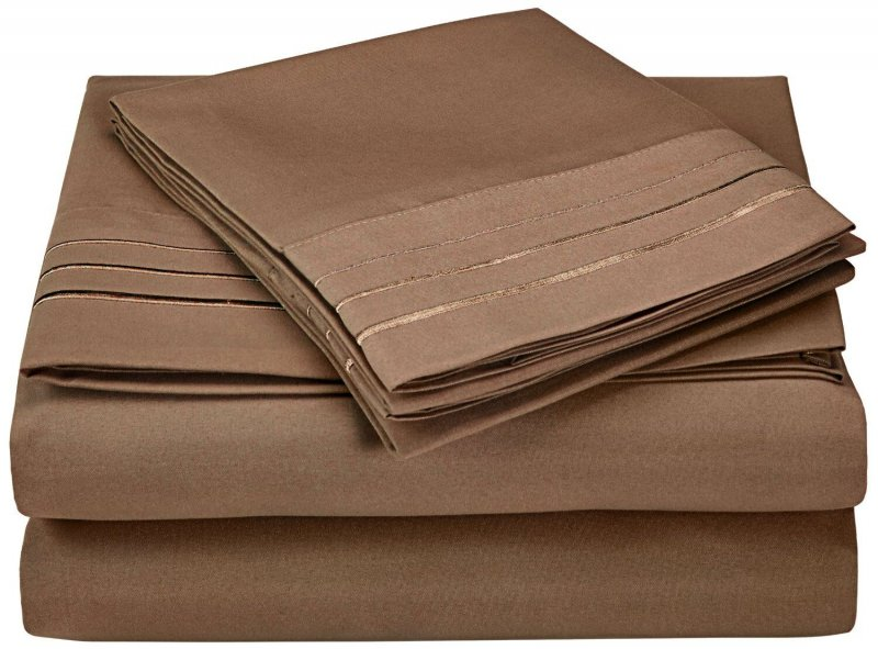 Image 13 of 4 Piece Full Superior 3 Line Embroidery Microfiber Sheet Set