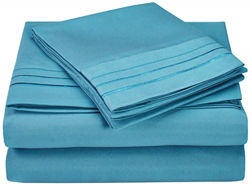 Image 1 of 4 Piece Full Superior 3 Line Embroidery Microfiber Sheet Set