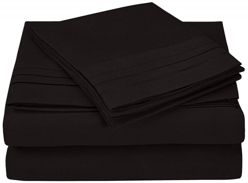 Image 5 of 4 Piece Full Superior 3 Line Embroidery Microfiber Sheet Set