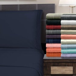 4 Piece Full Superior 3 Line Embroidery Microfiber Sheet Set