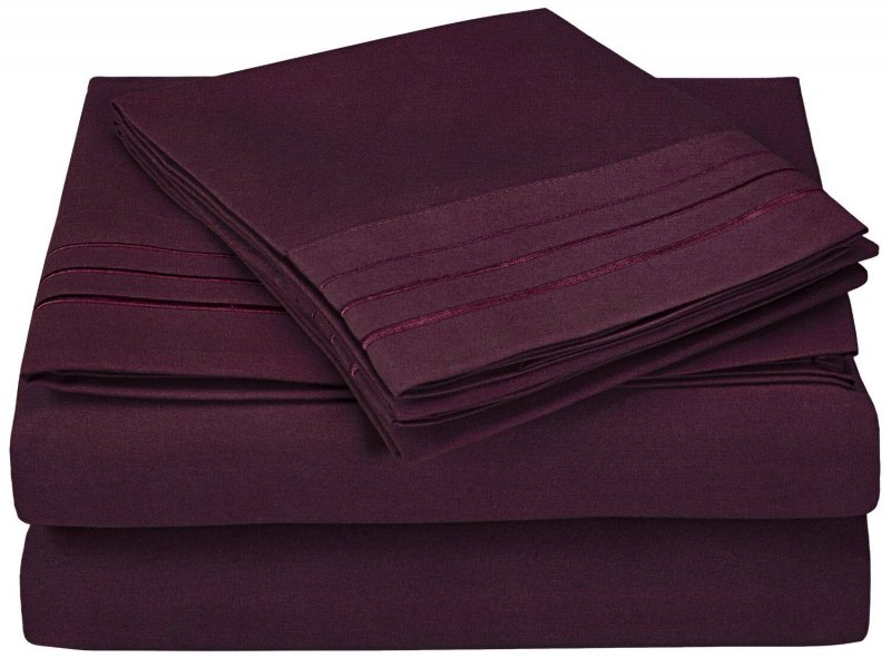 Image 9 of 4 Piece King 3 Line Embroidery Microfiber Sheet Set