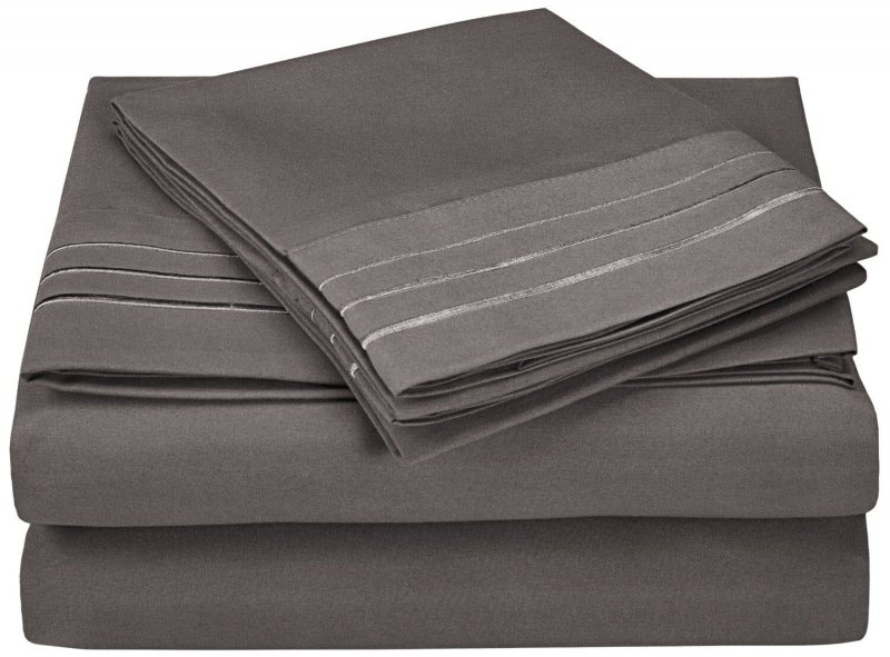 Image 13 of 4 Piece King 3 Line Embroidery Microfiber Sheet Set