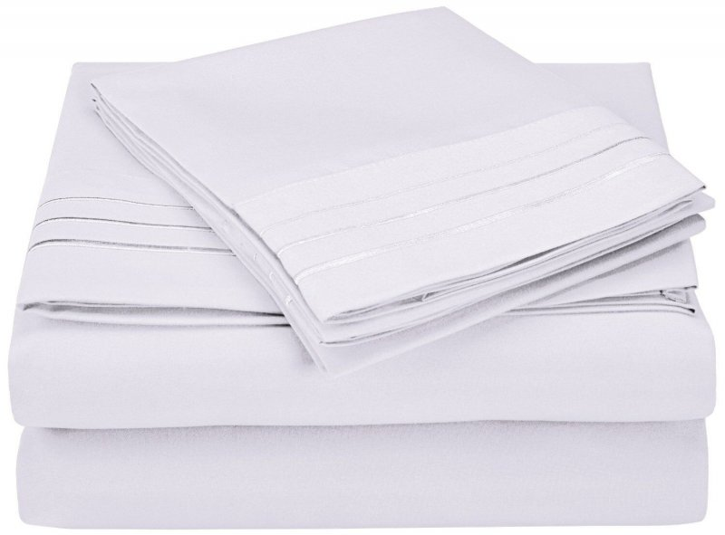 Image 15 of 4 Piece King 3 Line Embroidery Microfiber Sheet Set