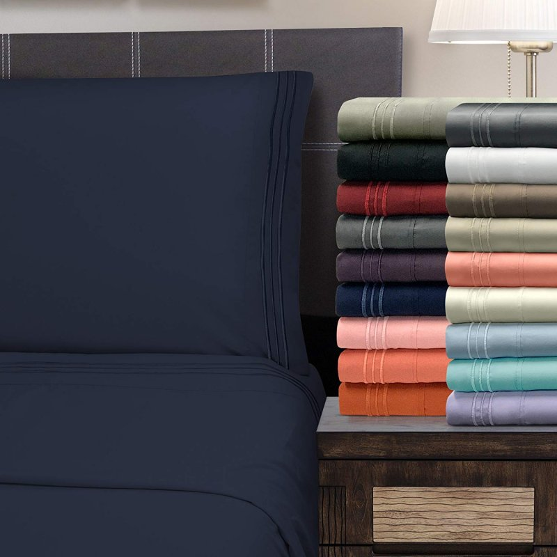 Image 0 of 4 Piece King 3 Line Embroidery Microfiber Sheet Set