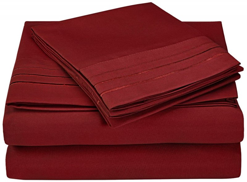 Image 1 of 4 Piece King 3 Line Embroidery Microfiber Sheet Set